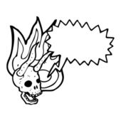 漫画悪魔の頭骨 — ストックベクタ