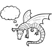 Dragon with thought bubble — Stockvektor