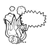 Flaming skull avec bulle de dialogue — Vecteur