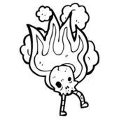 Weird burning skull halloween — Vector de stock