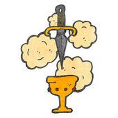 Cartoon dagger and cup symbol — Stock Vector