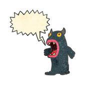 Retro cartoon harig monster met tekstballon — Stockvector