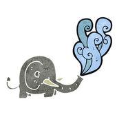 Retro kreslený slon squirting voda — Stock vektor