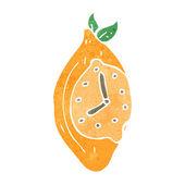 Retro cartoon lemon clock — Stock Vector