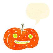 Retro cartoon friendly halloween pumpkin — Stock Vector