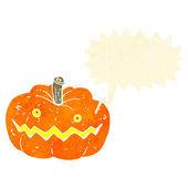 Retro cartoon spooky halloween pumpkin — Vector de stock