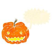 Retro cartoon spooky halloween pumpkin — Stock Vector