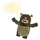 Retro cartoon teddy bear with thought bubble — Stock Vector
