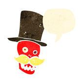 Calavera parlante divertidos dibujos animados retro — Vector de stock