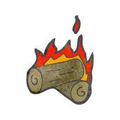 Spalanie dzienniki kreskówka — Wektor stockowy