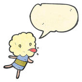 Rétro de dessin animé drôle petit monstre tête de nuage — Vecteur