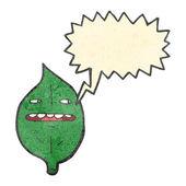 Retro cartoon talking leaf — Stock Vector