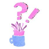 Retro cartoon jellyfish in coffee cup — Stock Vector