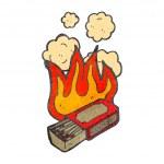 Retro cartoon flaming match box — Stock Vector