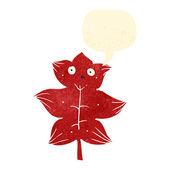 Retro cartoon leaf with speech bubble — Stock Vector