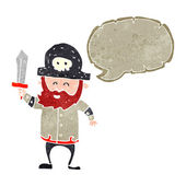 Retro cartoon pirate captain with speech bubble — Stock Vector