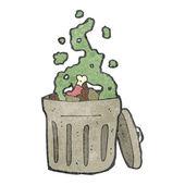Retro cartoon rubbish bin — Stock Vector