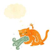 Retro cartoon burping cat — Stock Vector