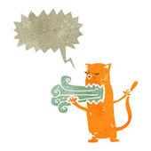 Retro cartoon cat with bad breath — Stock Vector