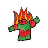 Retro cartoon burning christmas jumper — Stock Vector