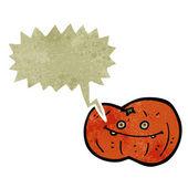 Retro cartoon pumpkin with speech bubble — Stock Vector