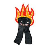 Pantolon yanan retro çizgi film — Stok Vektör