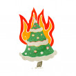 Flaming christmas tree retro cartoon — Stock Vector #28983469