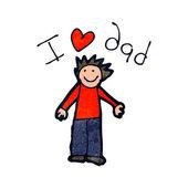 Kind tekening van een vaders dag kaart — Stockvector