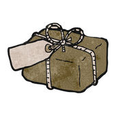 Retro cartoon parcel — Stockvector