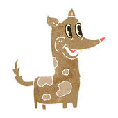 Retro cartoon happy little dog — Stock Vector