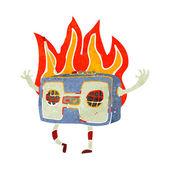 Retro cartoon burning radio — Stock Vector