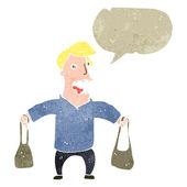 ретро мультфильм мам с сумки и речи пузырь — Cтоковый вектор