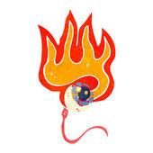 Retro cartoon flaming eyeball — Stock Vector