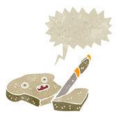 Retro cartoon slice of toast character — Stock Vector