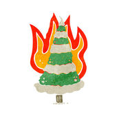 Flaming christmas tree retro cartoon — Stock Vector