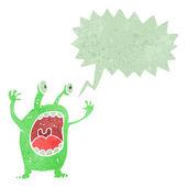 Retro cartoon alien monster — Stock Vector