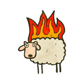 Retro cartoon sheep on fire — Stock Vector