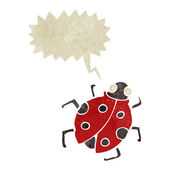 Retro cartoon ladybug with speech bubble — Stock Vector