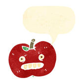 Funny retro cartoon apple — Stock Vector