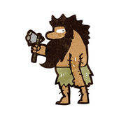 Retro cartoon cave man — Stock Vector
