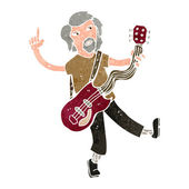 Retro cartoon electric guitar player — Stock Vector