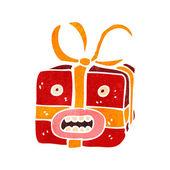 Monstruo presente de navidad dibujos animados retro — Vector de stock