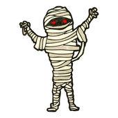 Retro cartoon spooky halloween mummy — Stock Vector