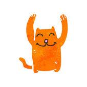 Retro cartoon funny little cat — Stock Vector
