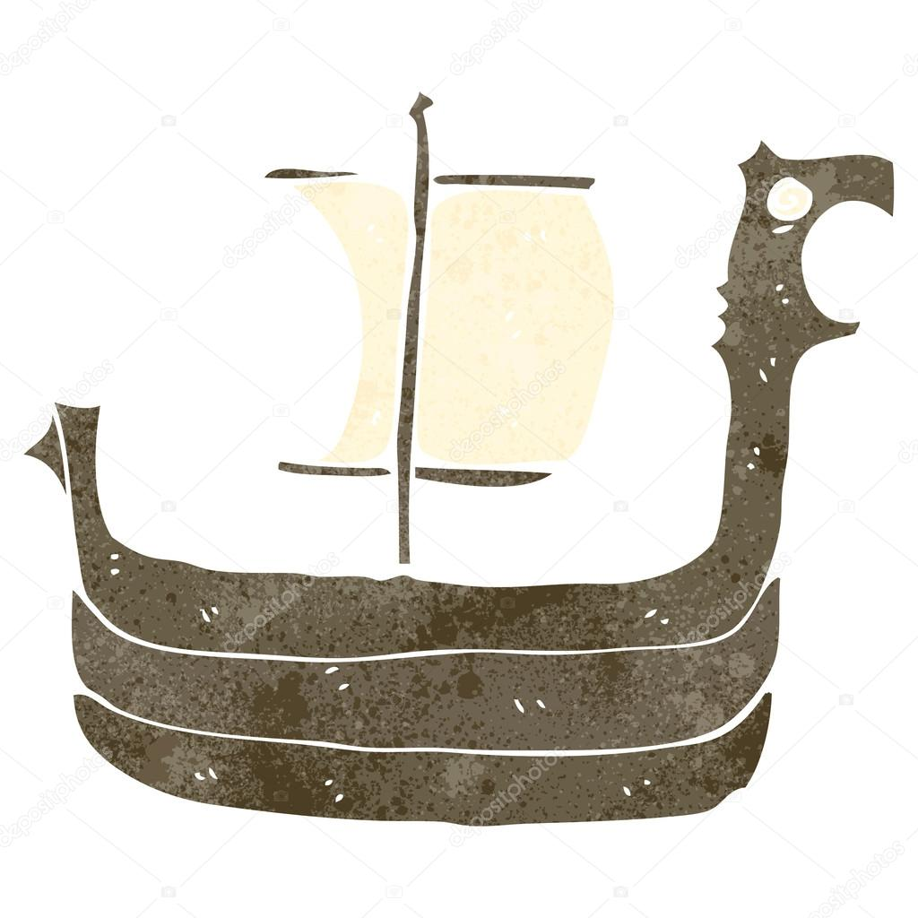 Retro cartoon viking ship — Stock Vector © lineartestpilot ...