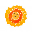 Stock Vector: Retro cartoon sun character