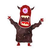 Retro cartoon scary monster — Stock Vector