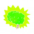 Vector de stock : Glowing brain cartoon