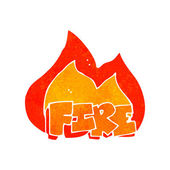 Kreslený hořící ohněm znamení — Stock vektor