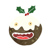 Old christmas pudding cartoon — Stock Vector